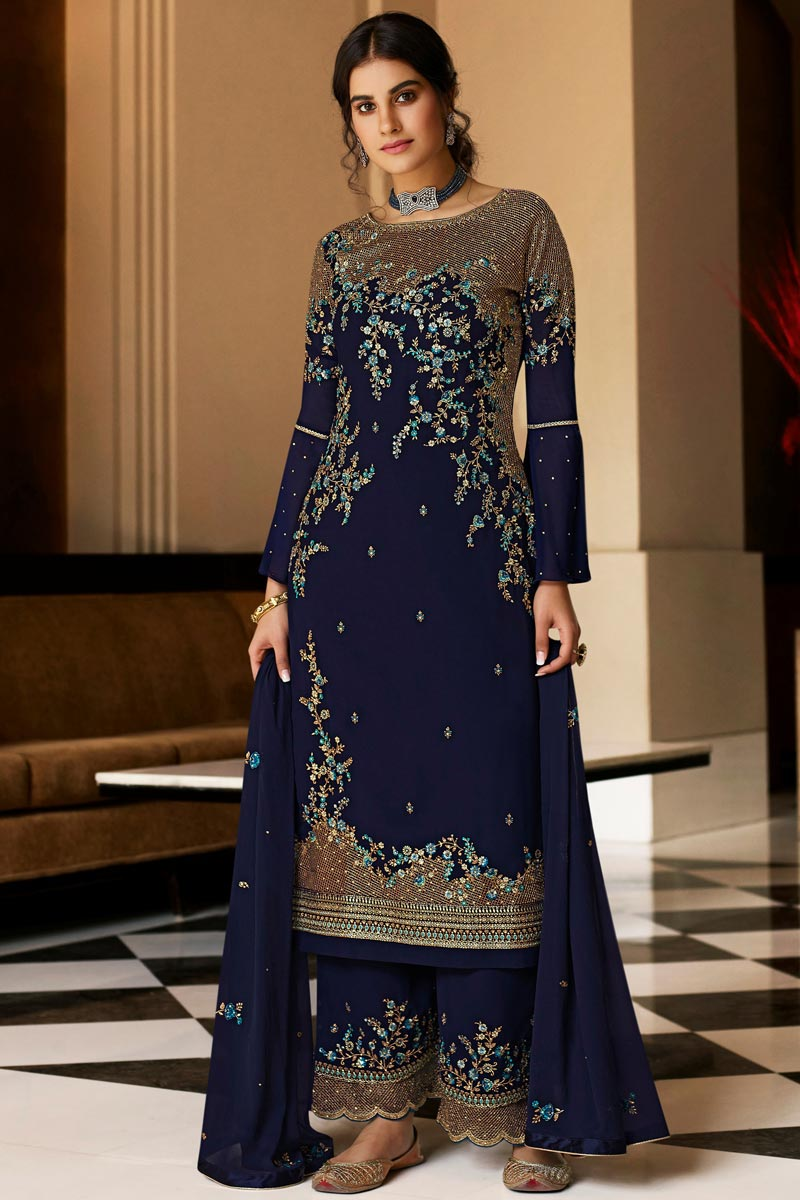 Navy Blue Color Party Style Embroidered Georgette Fabric Palazzo Salwar Suit