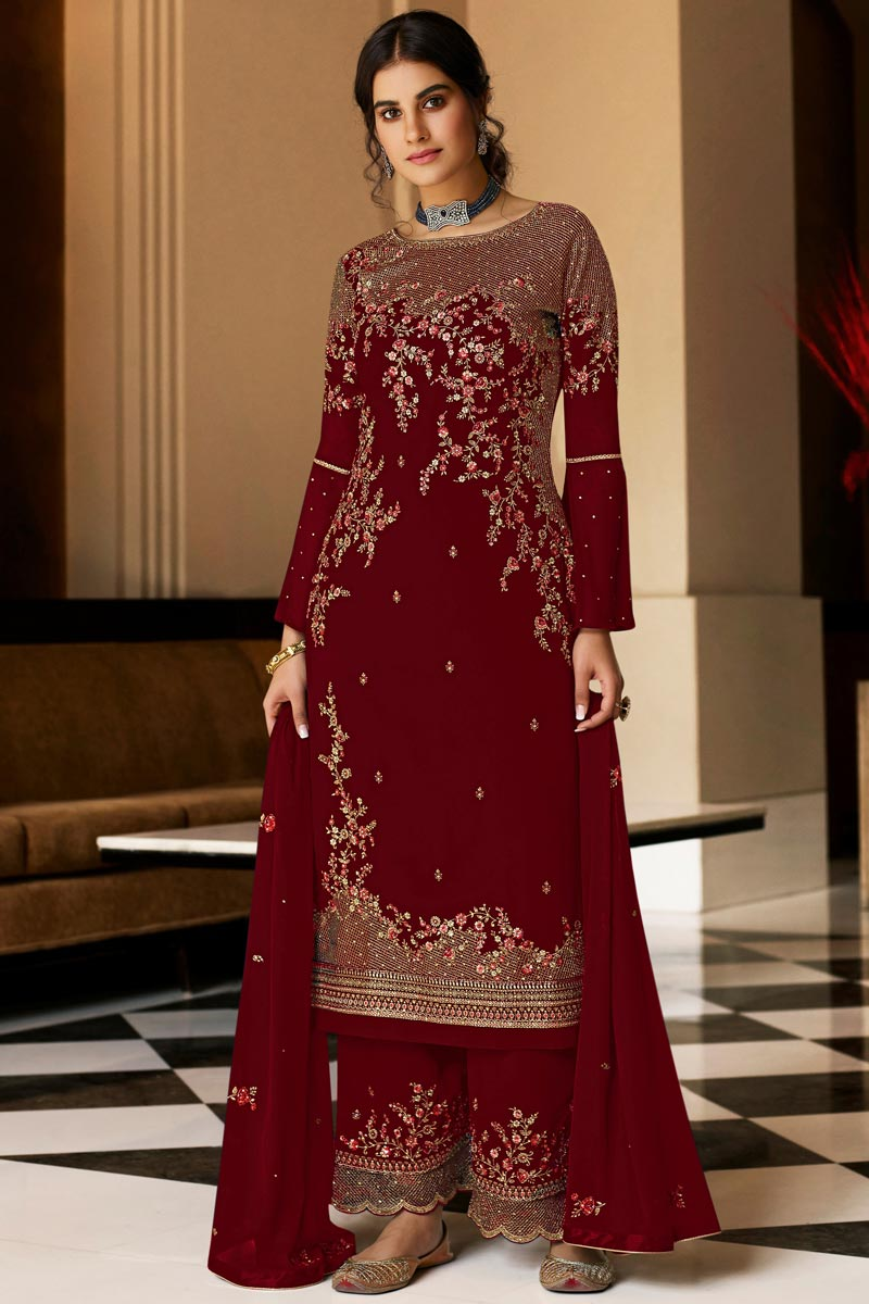 Red Color Party Style Embroidered Georgette Fabric Palazzo Salwar Kameez