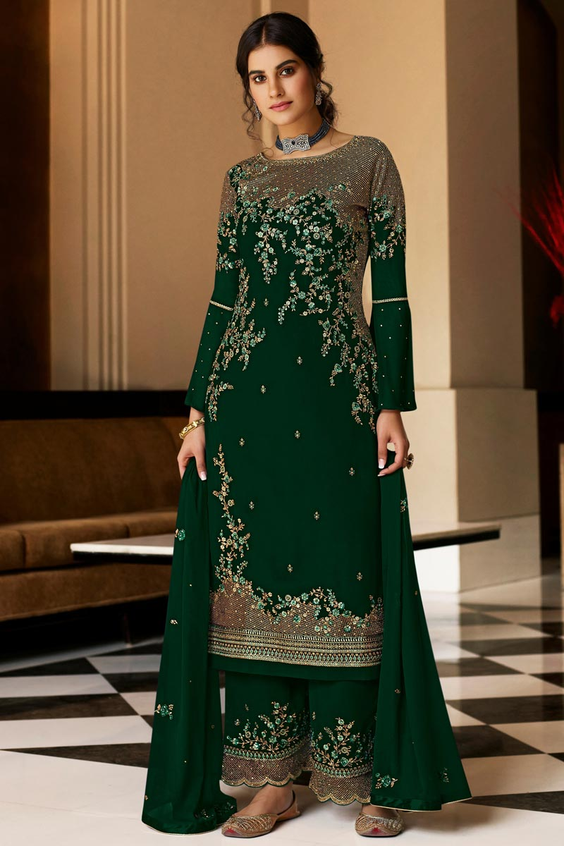 Georgette Fabric Party Style Dark Green Color Embroidered Palazzo Salwar Suit