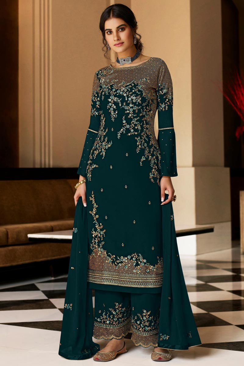 Teal Color Georgette Fabric Party Style Embroidered Palazzo Salwar Kameez