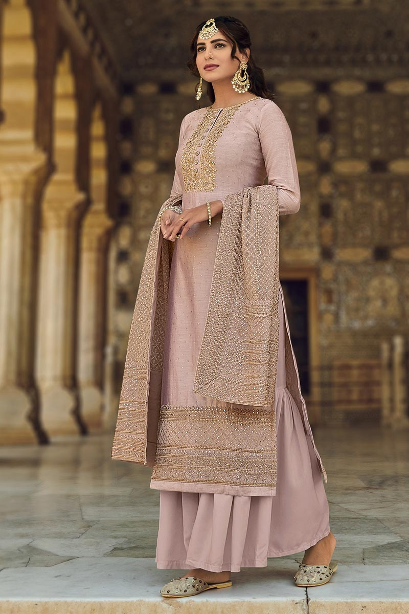 Peach Color Function Wear Embroidered Georgette Fabric Palazzo Salwar Suit