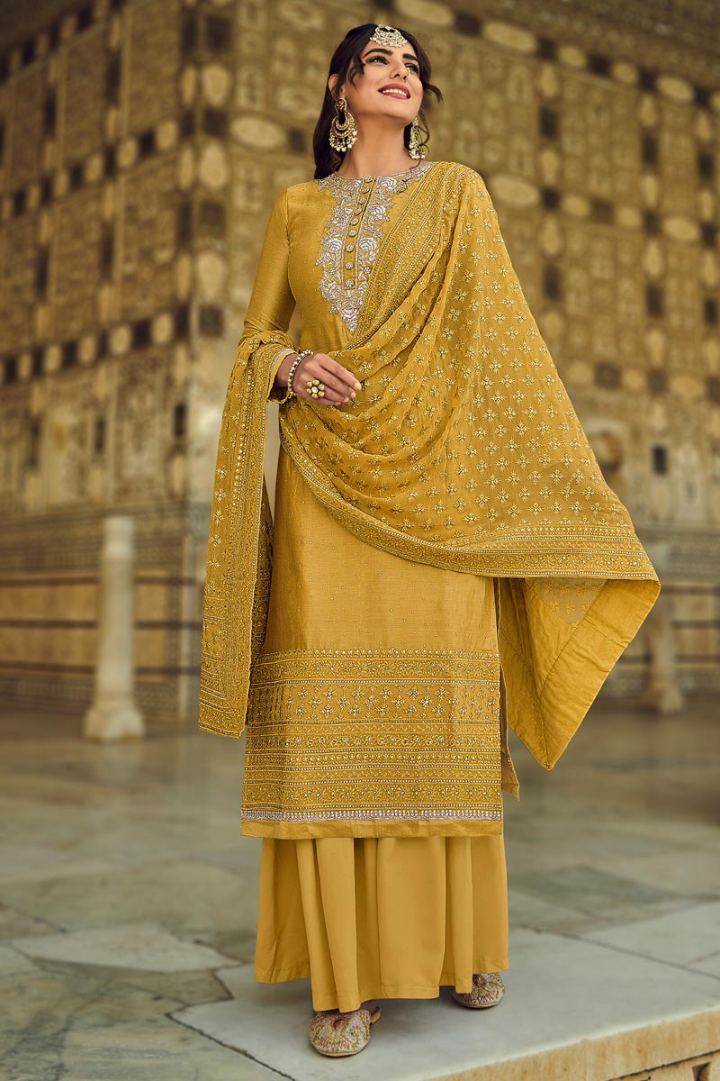 Yellow Color Festive Wear Embroidered Georgette Fabric Palazzo Salwar Kameez