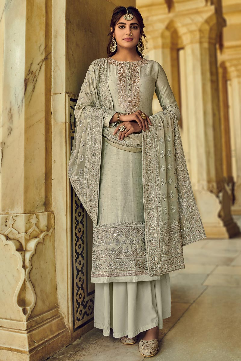 Georgette Fabric Party Wear Cream Color Embroidered Palazzo Salwar Suit