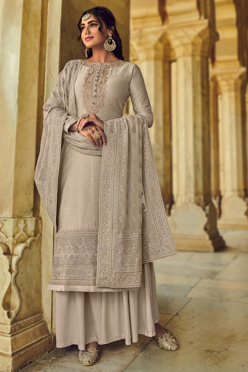 Beige Color Georgette Fabric Function Wear Embroidered Palazzo Salwar Kameez