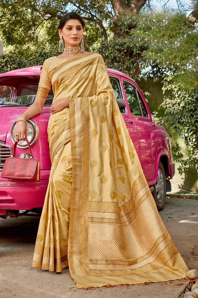 Function Wear Silk Fabric Beige Color Weaving Work Saree