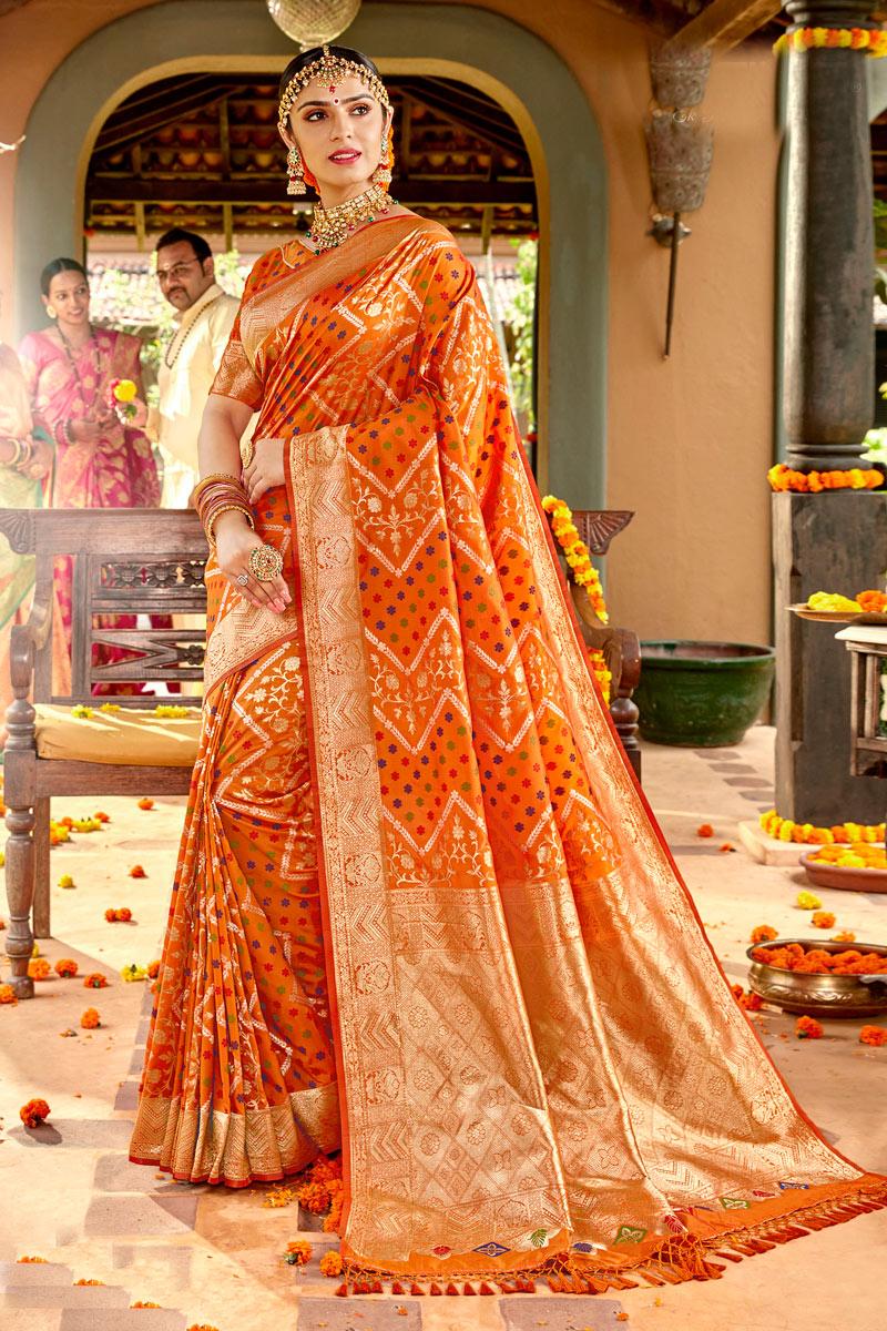 Sangeet Wear Orange Color Silk Fabric Weaving Work Saree