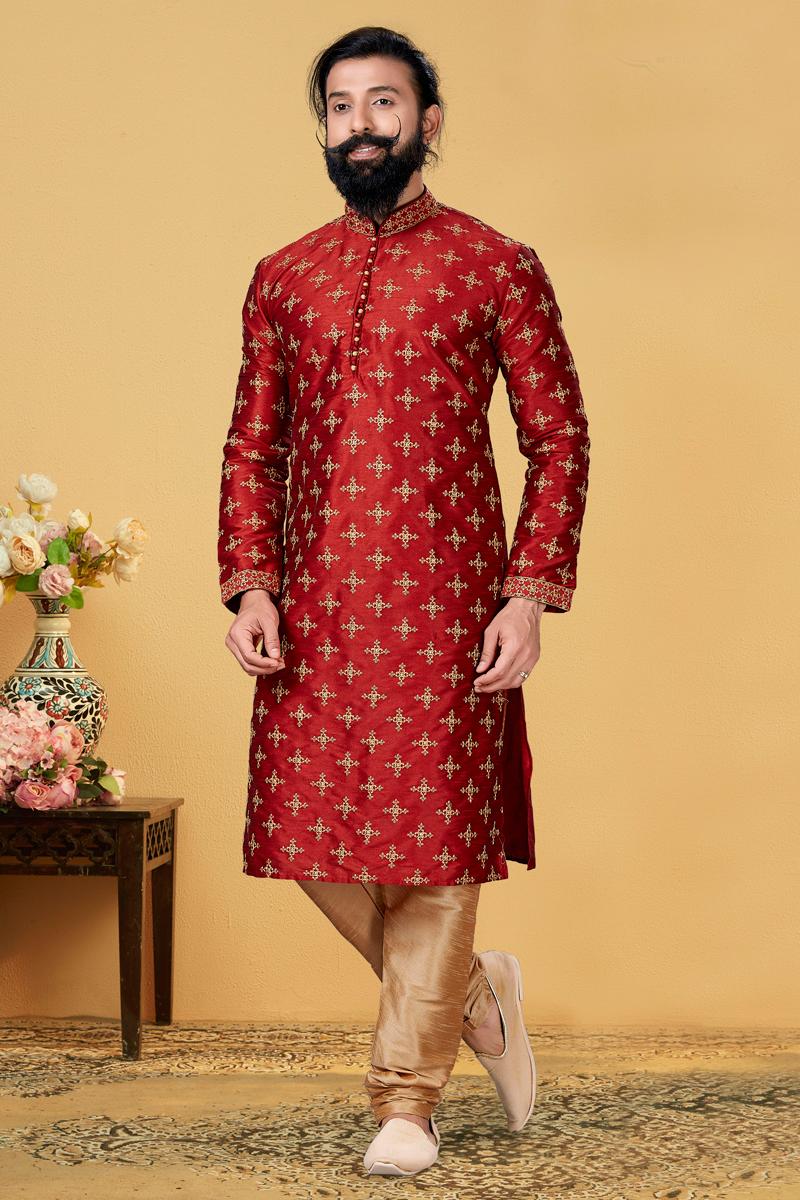 Red Color Art Silk Fabric Wedding Wear Embroidered Readymade Men Kurta Pyjama