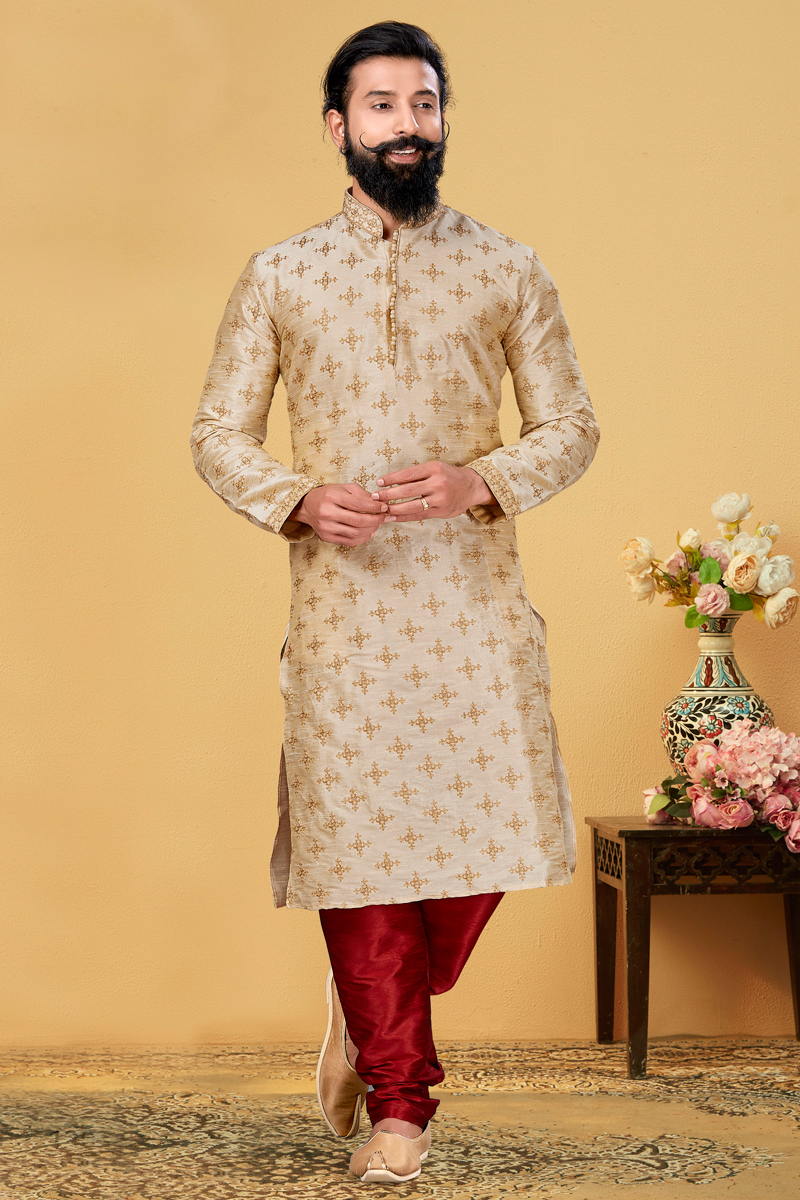 Beige Color Art Silk Fabric Reception Wear Embroidered Readymade Kurta Pyjama For Men