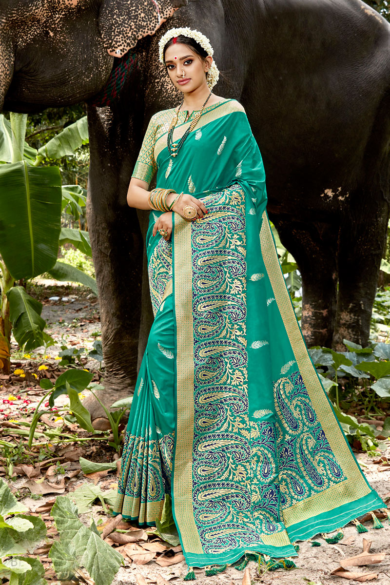 Festive Wear Silk Fabric Cyan Color Weaving Work Saree