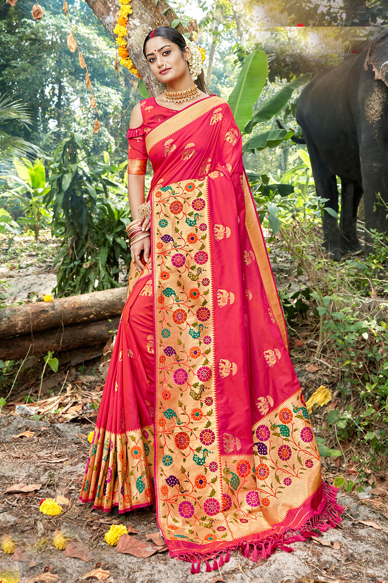 Function Wear Silk Fabric Pink Color Weaving Work Saree
