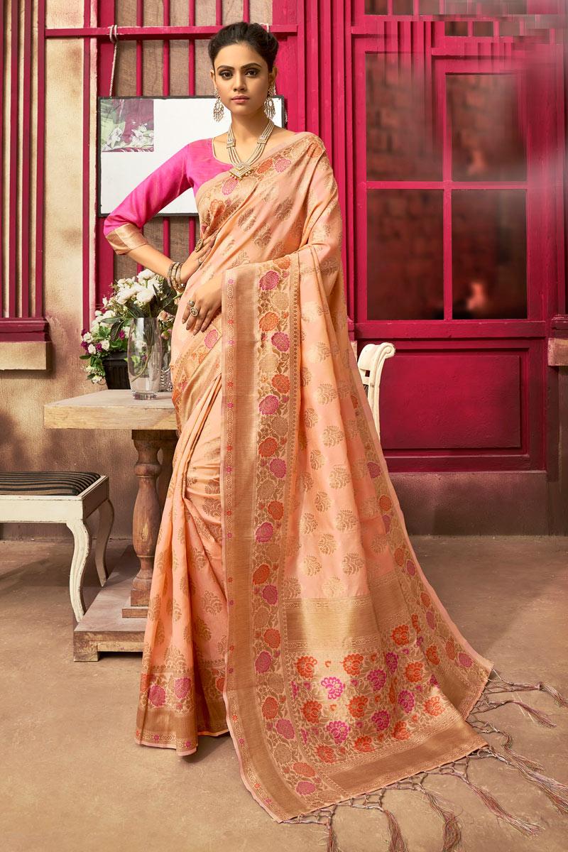Function Wear Stylish Art Silk Fabric Weaving Work Saree In Peach Color