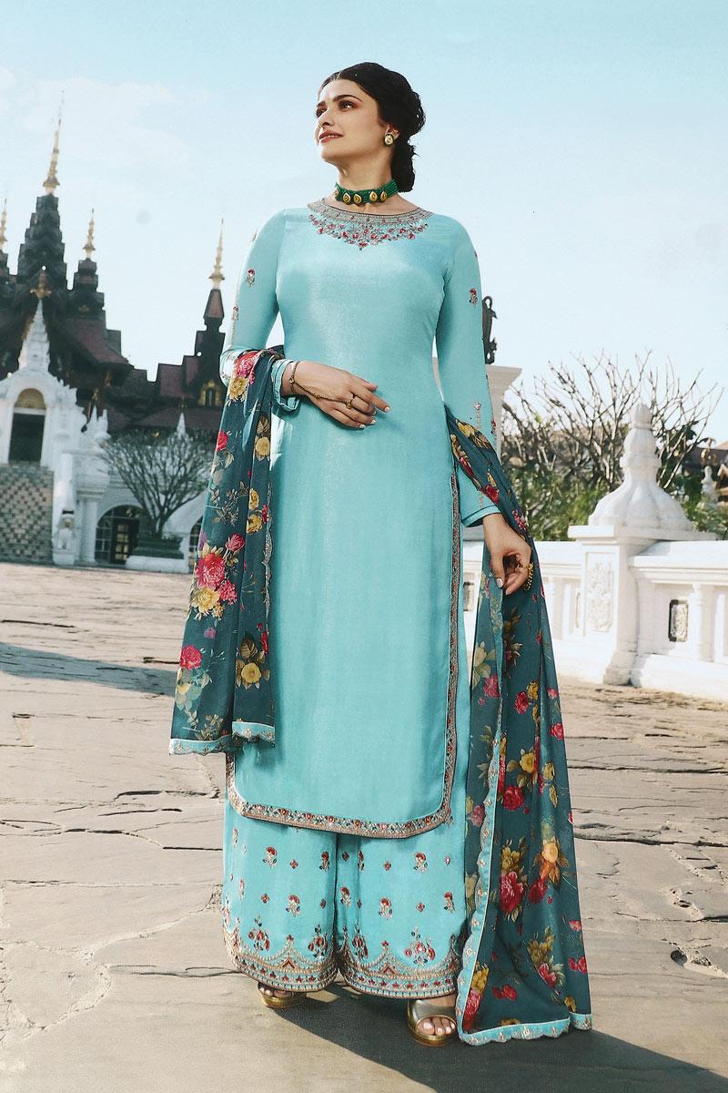 Prachi Desai Reception Wear Satin Fabric Light Cyan Color Stylish Palazzo Dress