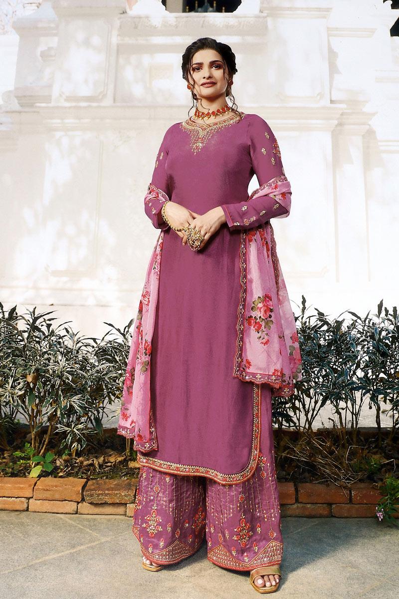 Prachi Desai Satin Fabric Designer Embroidered Pink Color Palazzo Suit