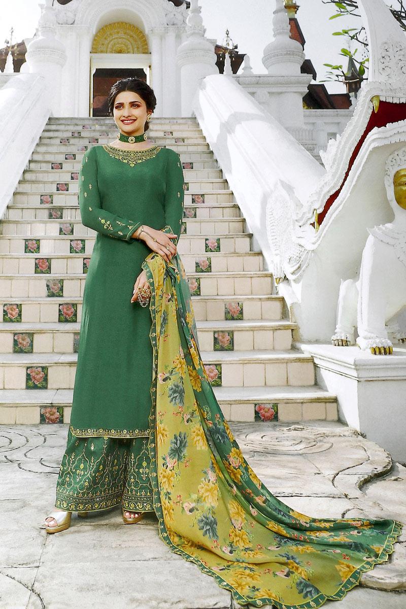 Prachi Desai Satin Fabric Function Wear Green Color Palazzo Salwar Kameez