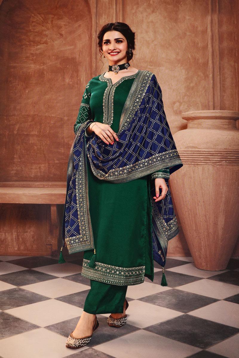 Prachi Desai Dark Green Color Fancy Embroidered Georgette Fabric Salwar Suit