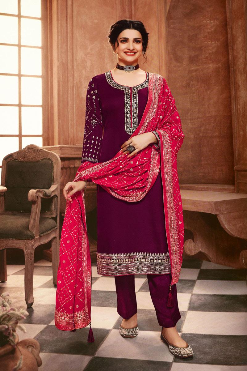 Prachi Desai Dark Magenta Color Function Wear Embroidered Georgette Fabric Designer Salwar Kameez