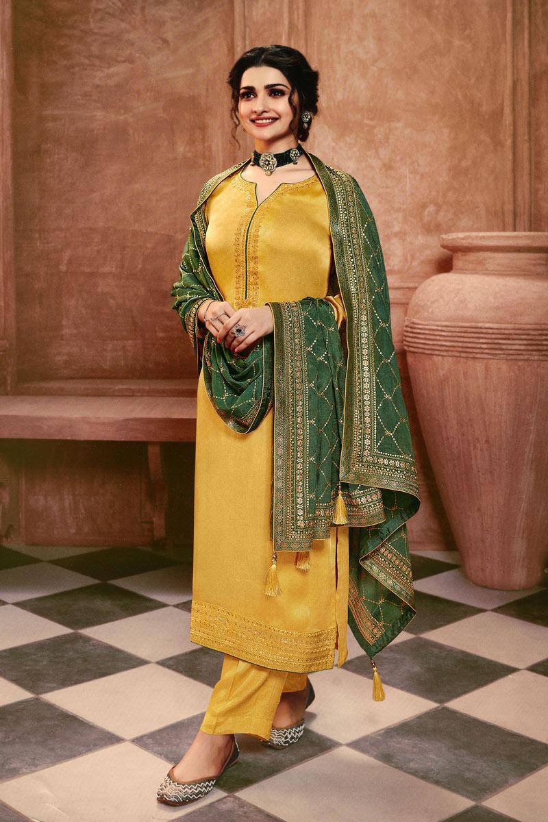 Prachi Desai Georgette Fabric Party Wear Yellow Color Designer Suit
