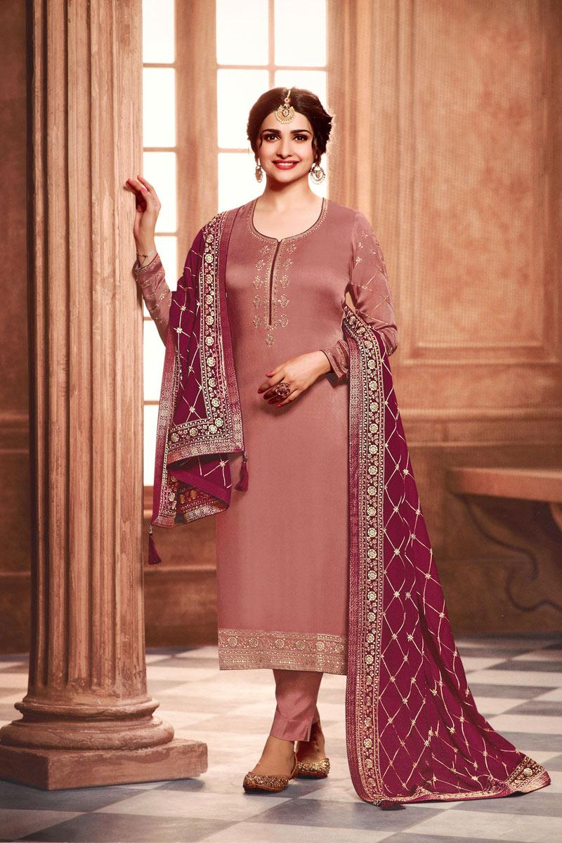 Prachi Desai Pink Color Georgette Fabric Embroidered Salwar Kameez
