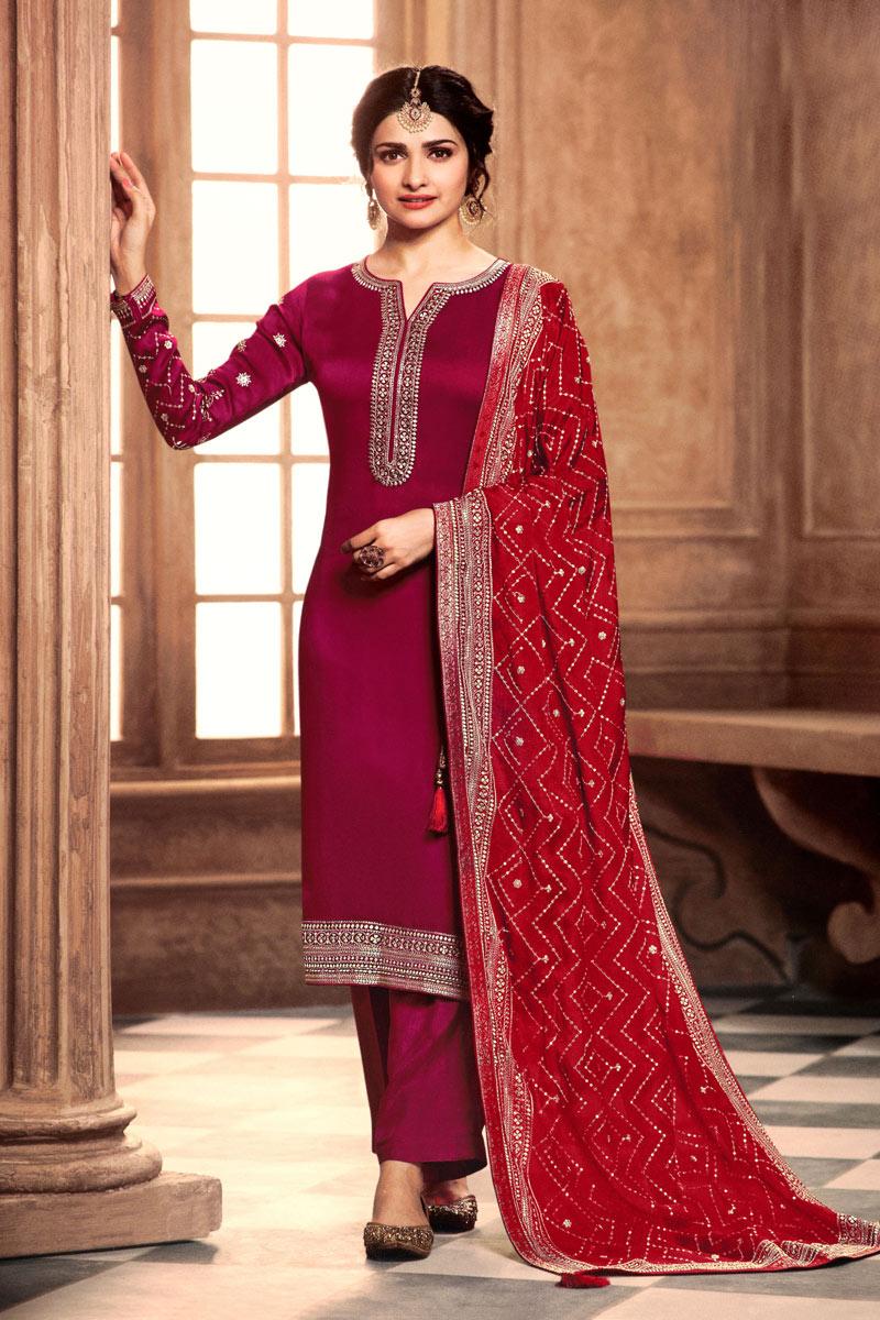 Prachi Desai Reception Wear Georgette Fabric Rani Color Designer Salwar Kameez