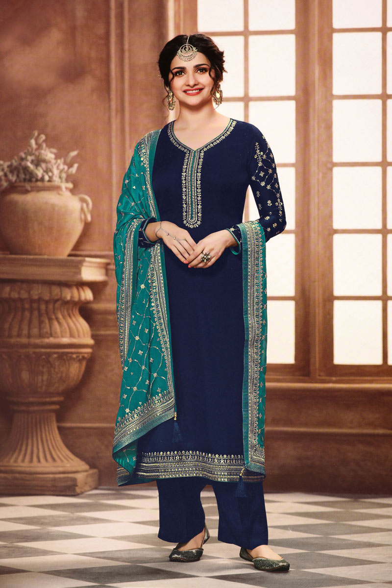 Prachi Desai Georgette Fabric Designer Embroidered Navy Blue Color Suit
