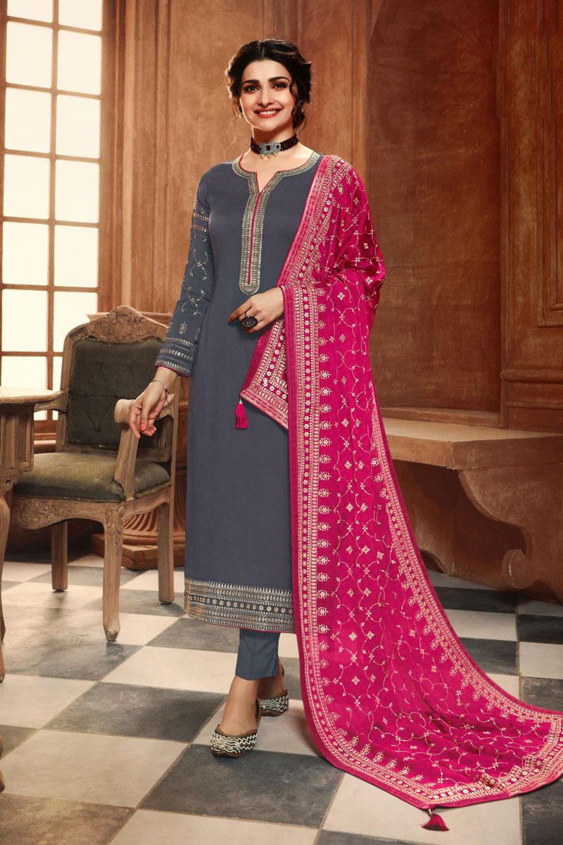 Prachi Desai Georgette Fabric Function Wear Grey Color Salwar Kameez