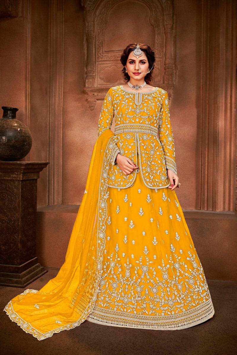 Yellow Color Net Fabric Fancy Embroidered Function Wear Sharara Top Lehenga