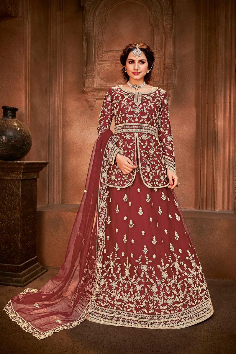 Net Fabric Maroon Color Embroidered Festive Wear Sharara Top Lehenga