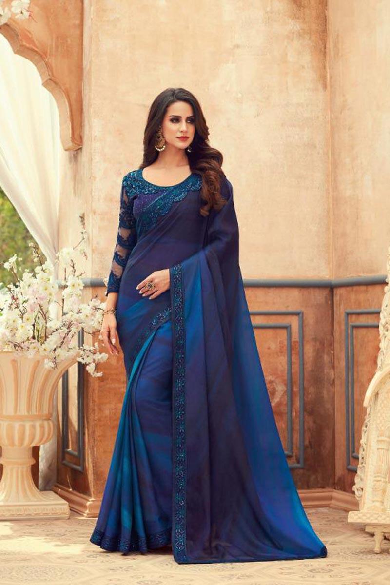 Chiffon Fabric Blue Color Embroidered Festive Wear Saree
