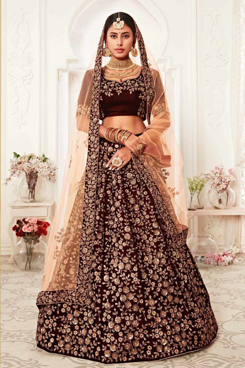 Maroon Color Velvet Fabric Sangeet Wear Embroidered Fancy Lehenga Choli