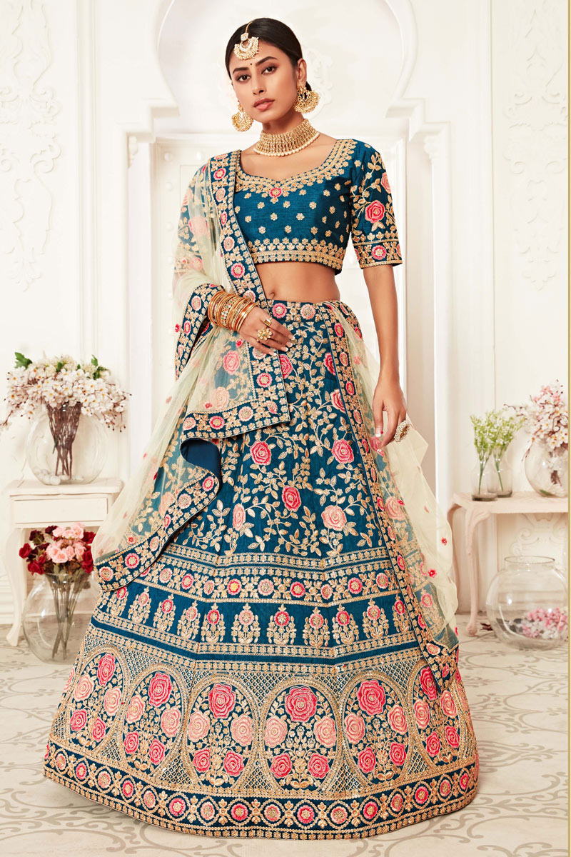 Sky Blue Color Reception Wear Silk Fabric Embroidered Trendy Lehenga Choli