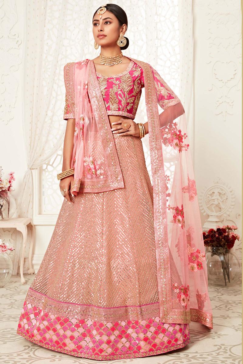 Silk Fabric Reception Wear Embroidered Stylish Lehenga Choli In Pink Color
