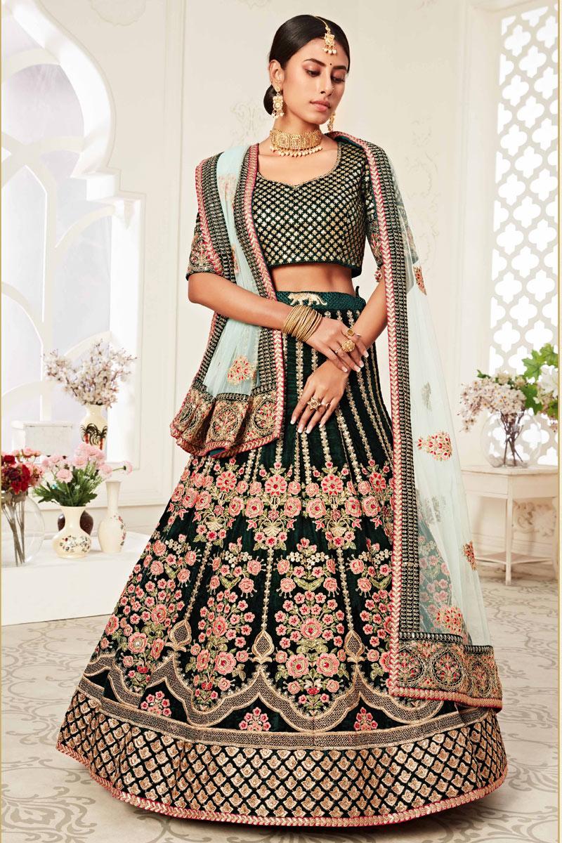 Dark Green Color Velvet Fabric Sangeet Wear Embroidered Lehenga Choli