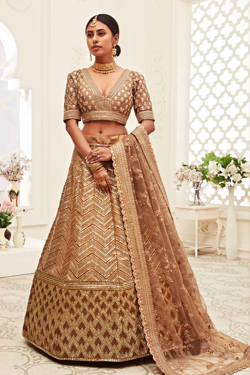 Silk Fabric Light Brown Color Wedding Wear Embroidered Lehenga Choli