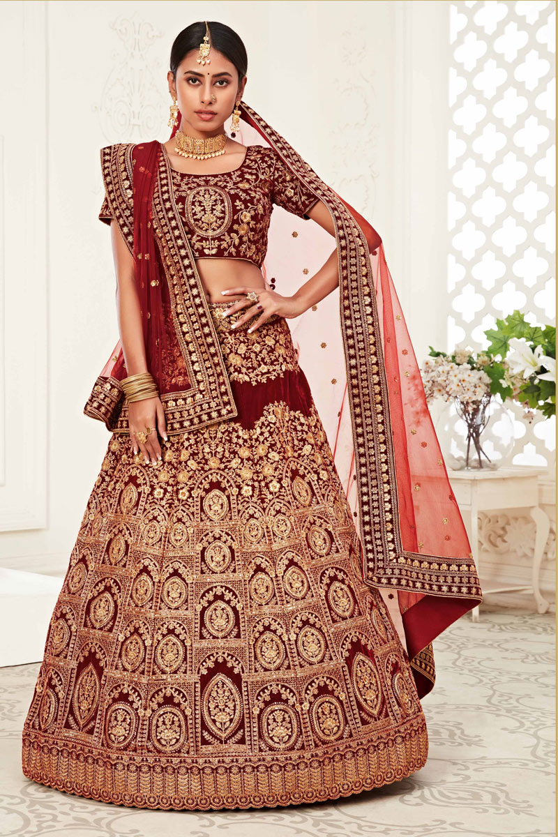 Red Color Reception Wear Velvet Fabric Embroidered Lehenga Choli