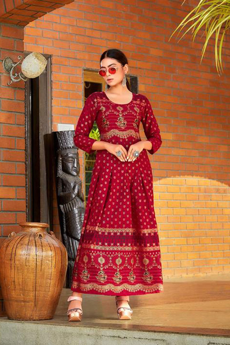 Red Color Rayon Fabric Function Wear Redymade Long Gown Style Kurti
