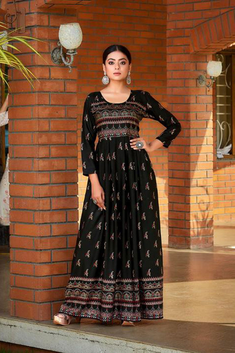 Rayon Fabric Black Color Festive Wear Redymade Long Gown Style Kurti