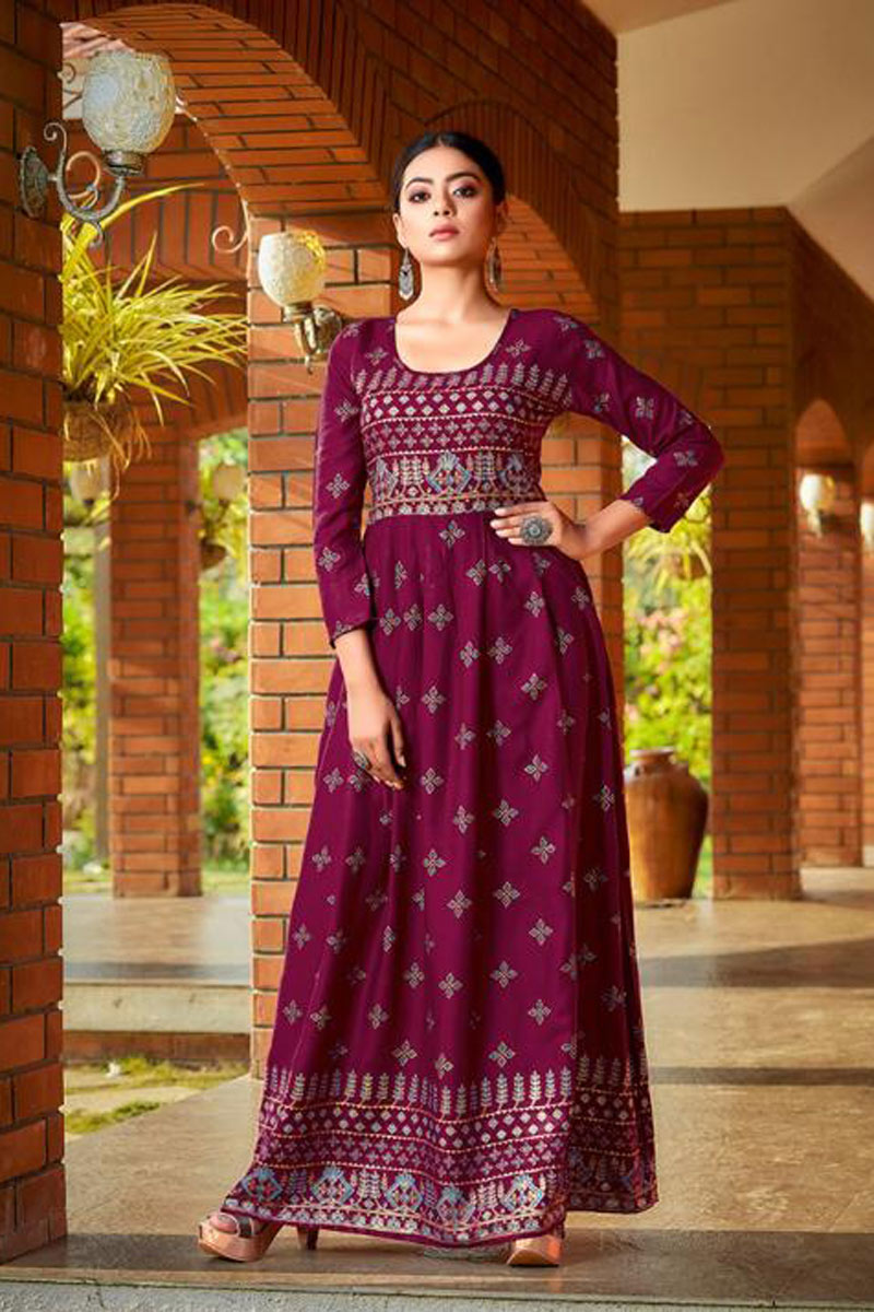 Party Wear Dark Magenta Color Rayon Fabric Redymade Long Gown Style Kurti