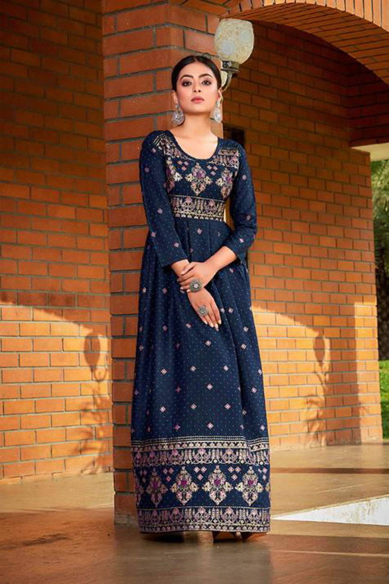 Navy Blue Color Rayon Fabric Daily Wear Redymade Long Gown Style Kurti