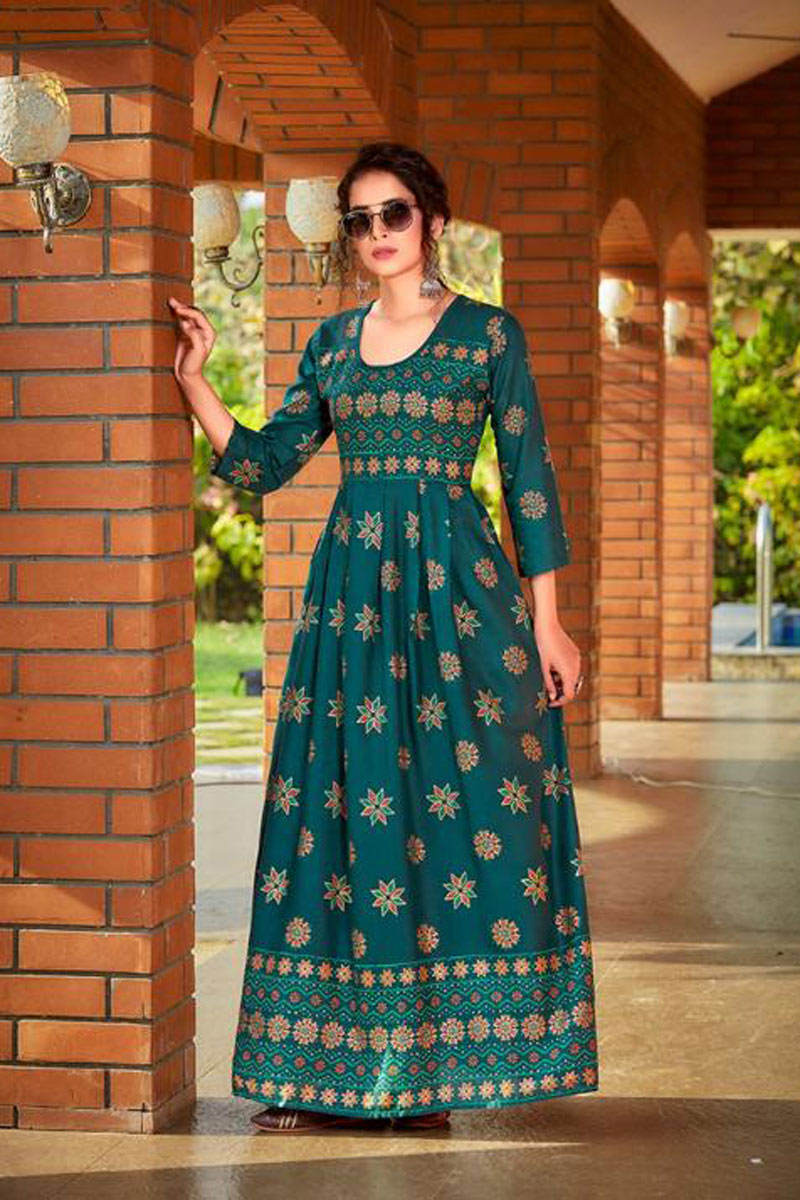 Rayon Fabric Teal Color Casual Wear Redymade Long Gown Style Kurti