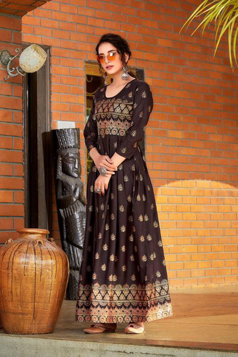 Office Wear Brown Color Rayon Fabric Redymade Long Gown Style Kurti