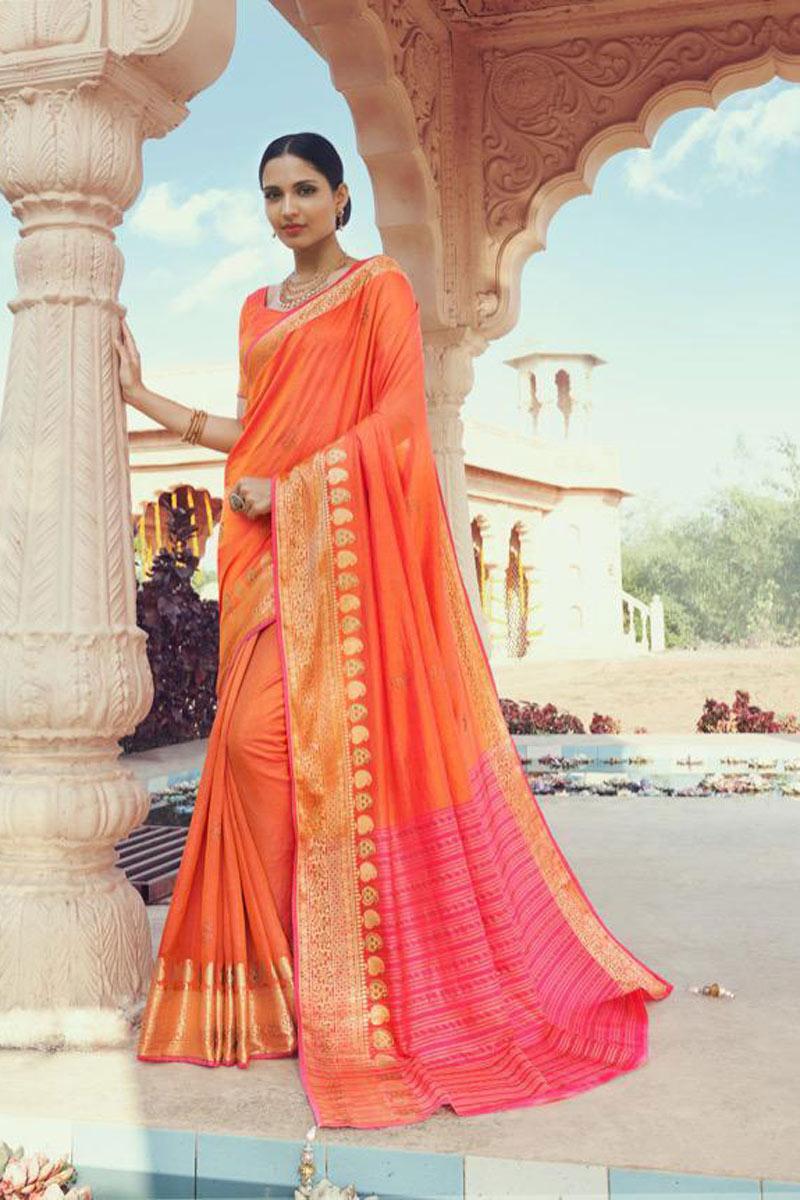 Festive Wear Art Silk Fabric Fancy Weaving Work Saree In Orange Color