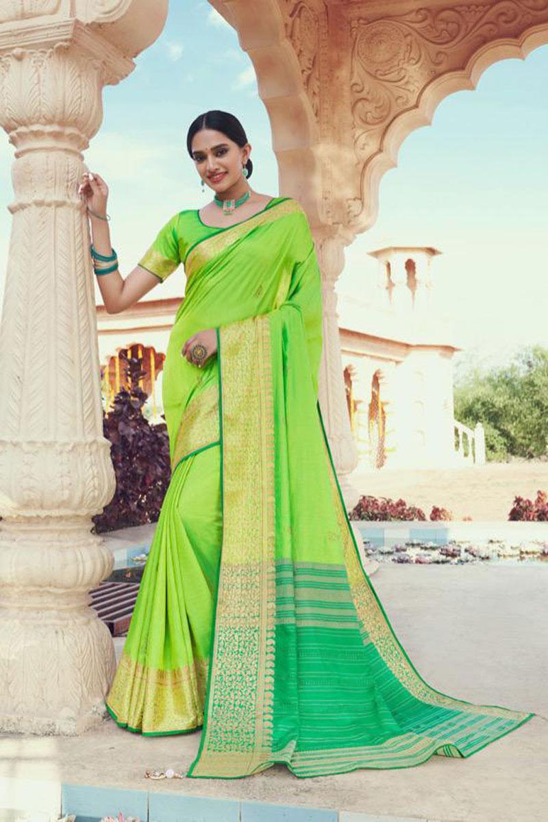 Green Color Festive Wear Art Silk Fabric Fancy Weaving Work Saree