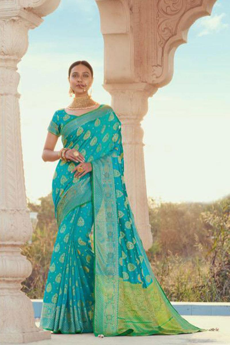 Cyan Color Puja Wear Fancy Art Silk Fabric Weaving Work Saree