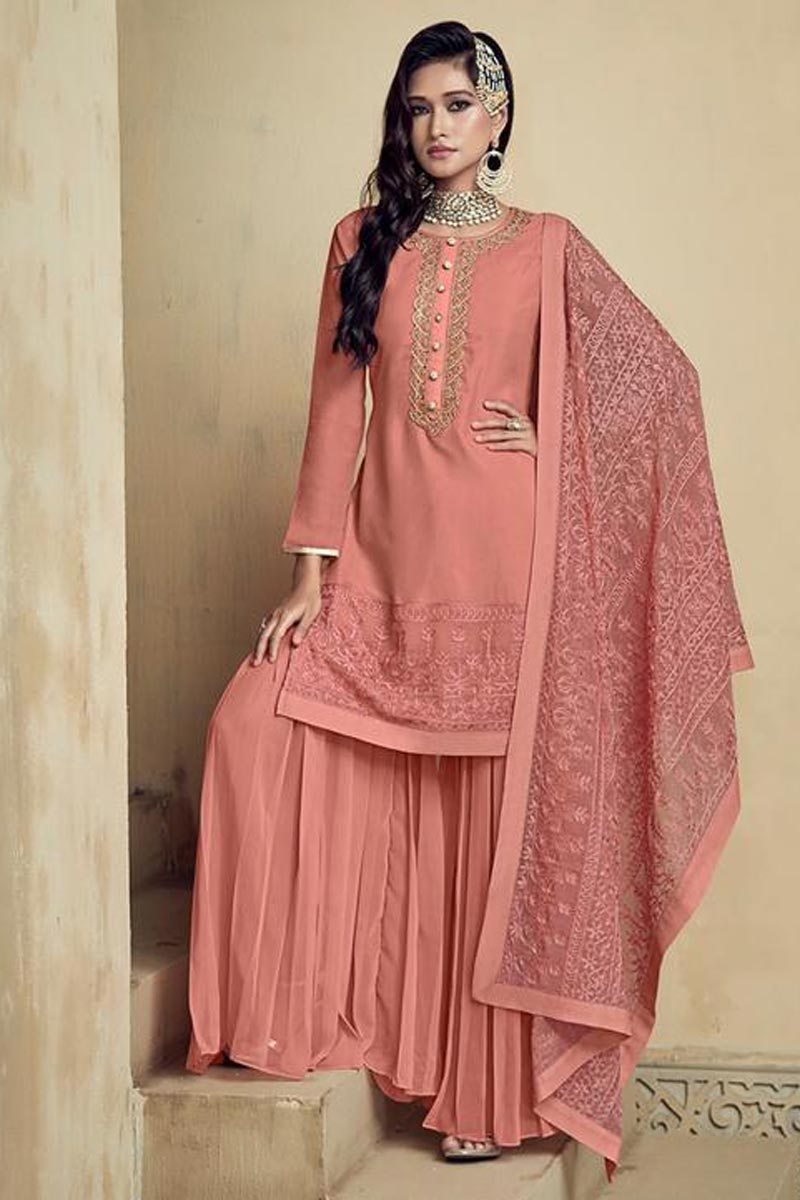 Georgette Fabric Function Wear Fancy Embroidered Palazzo Salwar Suit In Peach Color