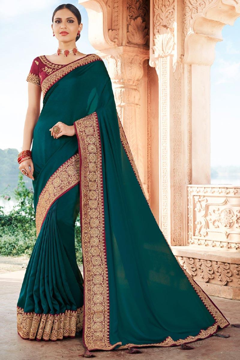 Wedding Wear Teal Color Fancy Art Silk Fabric Border Work Saree