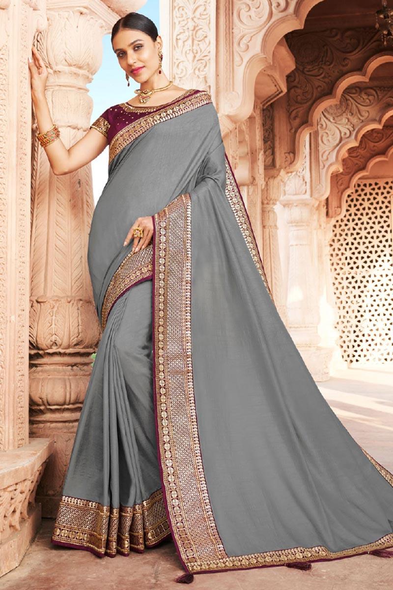 Reception Wear Art Silk Fabric Fancy Border Work Saree In Grey Color