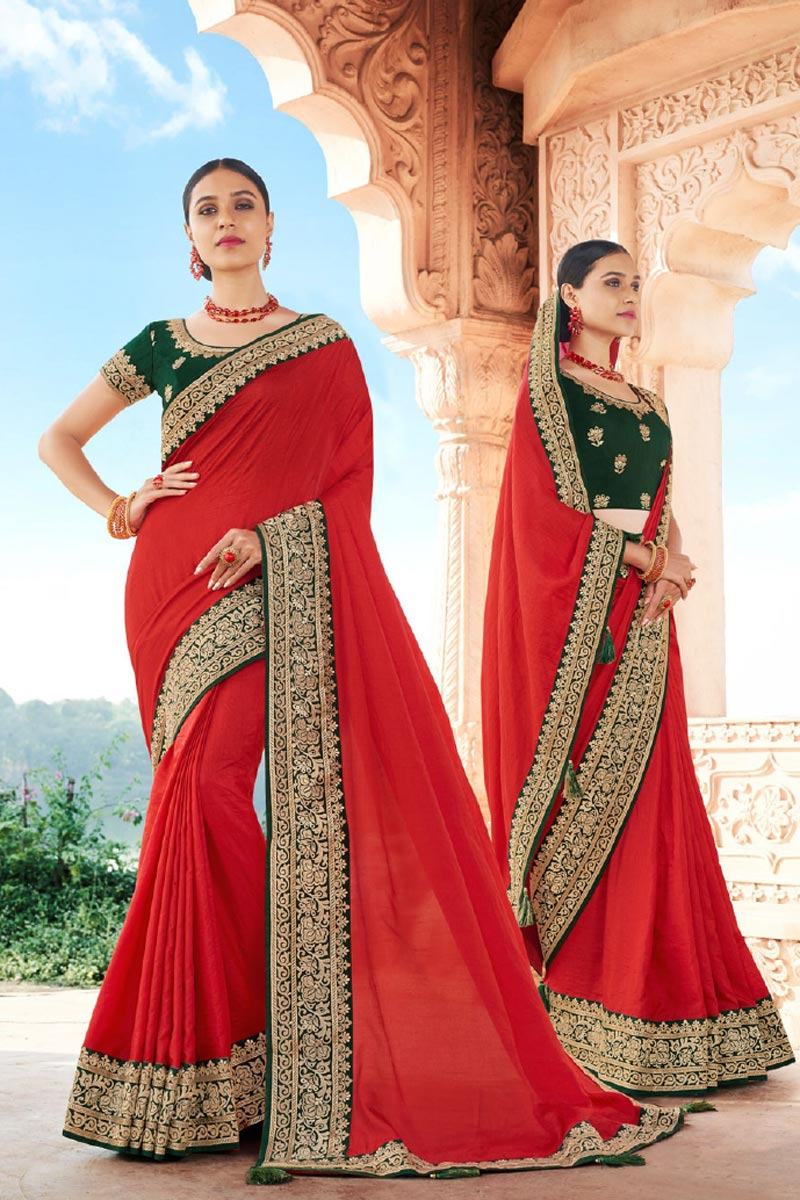 Red Color Reception Wear Fancy Art Silk Fabric Border Work Saree