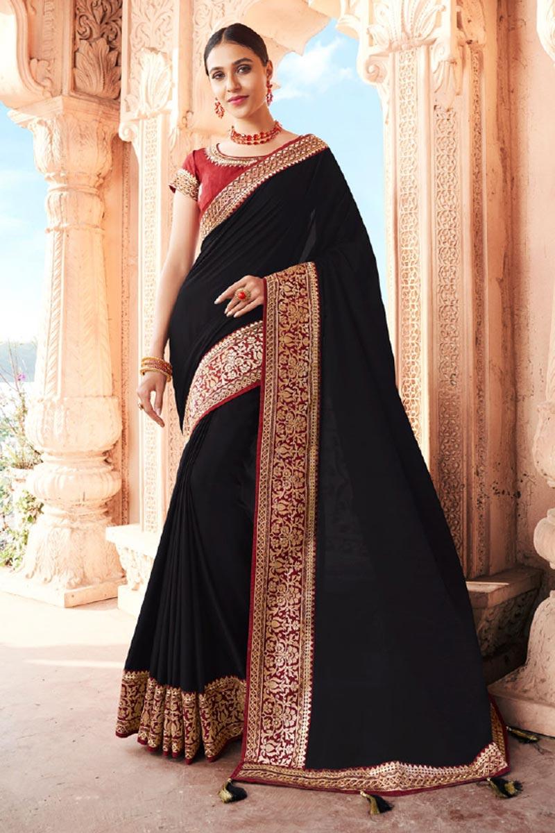 Art Silk Fabric Fancy Function Wear Black Color Border Work Saree