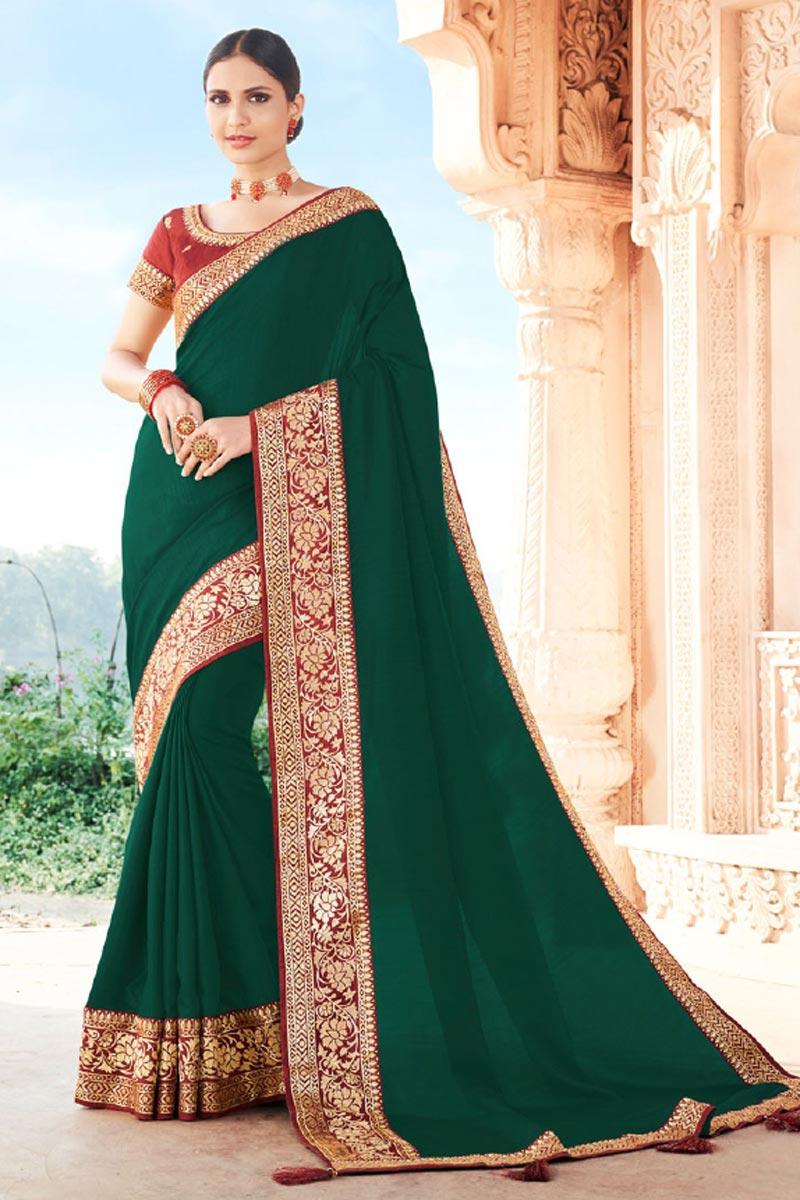 Dark Green Color Function Wear Art Silk Fabric Fancy Border Work Saree
