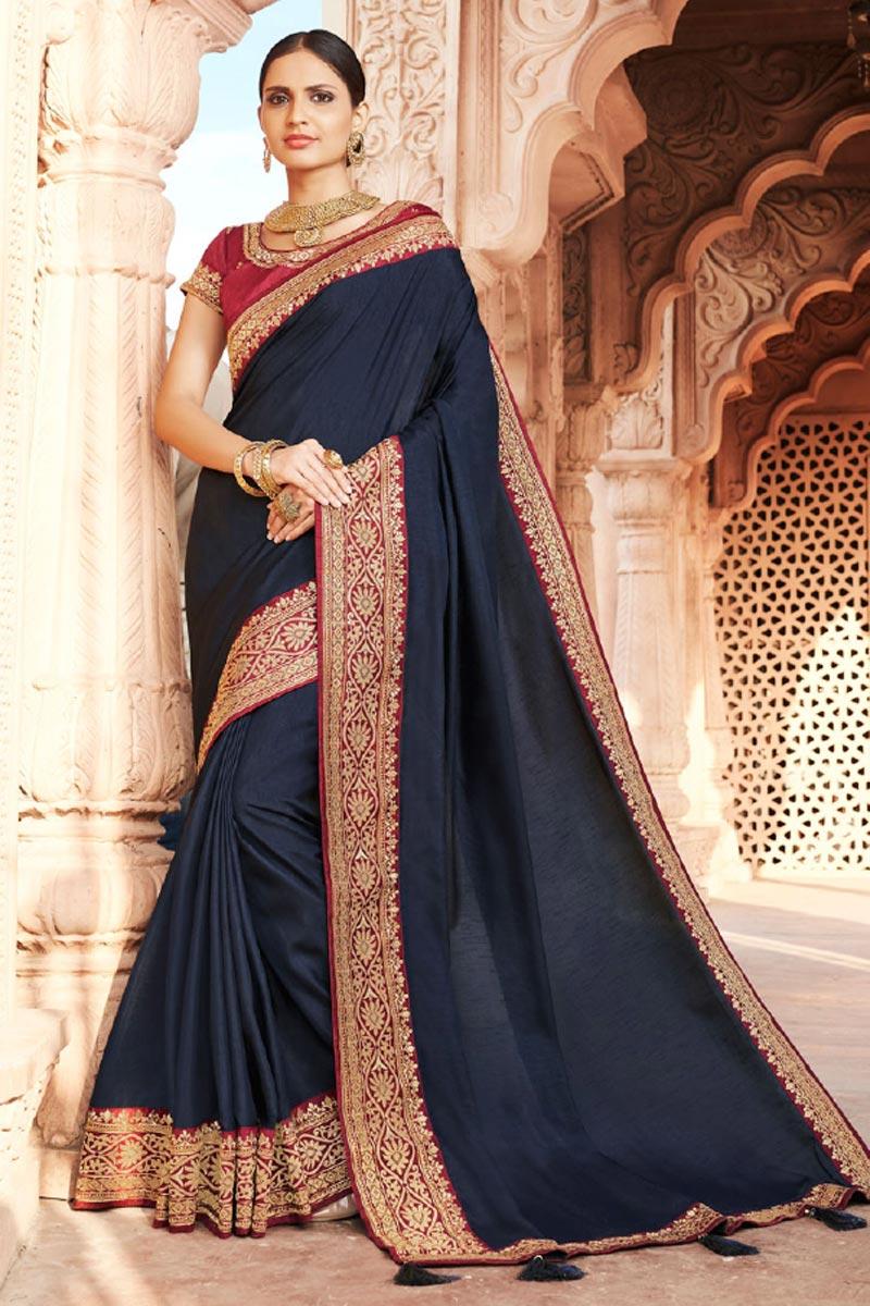 Art Silk Fabric Festive Wear Fancy Navy Blue Color Border Work Saree